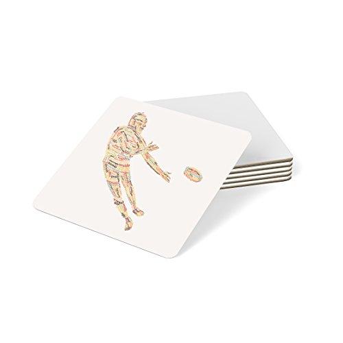 Feel Good Art Hochglanz Untersetzer in Modernes typographisches Rugby Player Design (Herbstliche Töne)