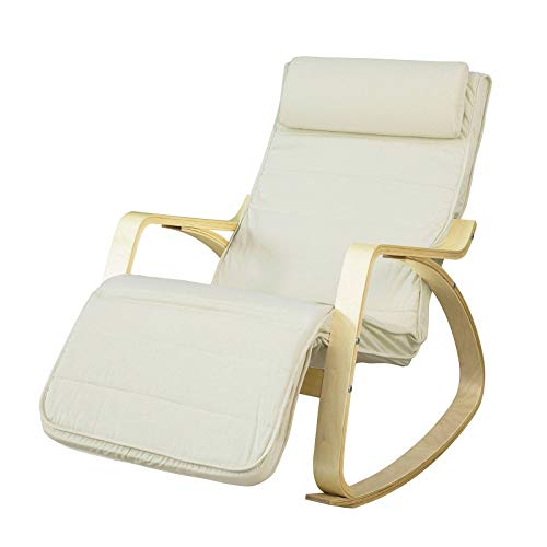 SoBuy New! Comfortable Relax Rocking Chair Lounge Chair Recliner with Footrest Design (FST16-W)