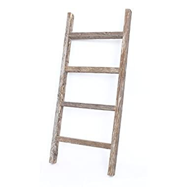 BarnwoodUSA Rustic Blanket Ladder - 100% Upcylced Wood (48  x 18  x 2.5 , Weathered Gray)