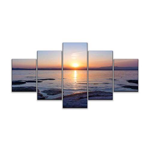 XEPPO 5 Panels Wall Art Print On Canvas Garda Lake at Sunset Reflection Lake Stock Pictures Royalty Free Modern Abstract Picture Poster for Home Decor Stretched and Framed Ready to Hang (60''Wx32''H)