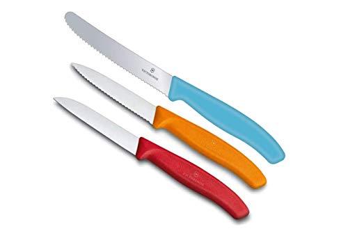 Victorinox Swiss Classic Gemüsemesser-Set, 3-teilig (rot, orange, Karibikblau)