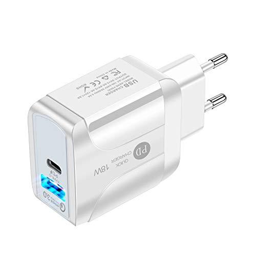 Gcroet Tipo C Pared Cargador Rápido Cargador USB Adaptador De Corriente PD 18w para Teléfonos Inteligentes EU Blanca