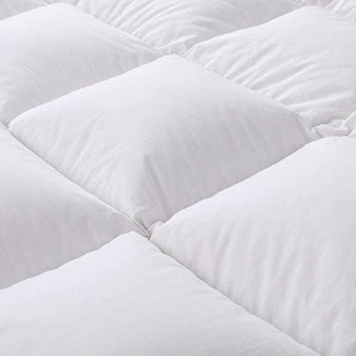 ROYALAY Luxurious All-Seasons White Down Comforter-Solid, Lightweight Corner Duvet Tabs, 100% Cotton Cover,600 Fill Power,37OZ,Down Fiber Blend, White Down Comforter (King)