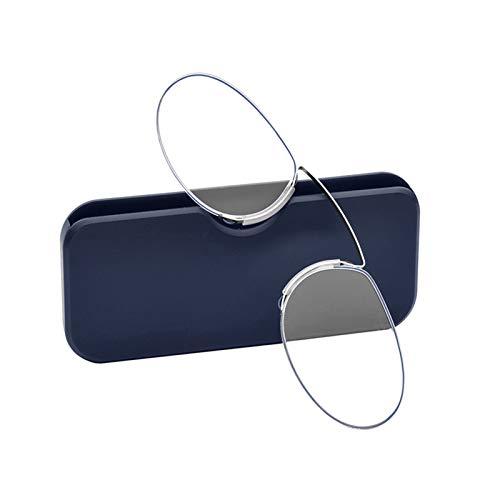 Haishan Stil Lesebrille Thin Zwicker Nasenklammer Lesebrille No Arm TR Brille for Männer Frauen Lesebrille 9.23 (Eye Prescription : +200, Frame Color : Blue)