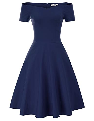 Women's Vintage Off Shoulder Summer Swing Dress Size M Navy Blue CL020-5
