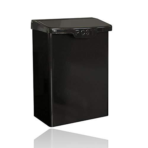 Wandeinbau-Mailbox Sichere Außen Metall Letterbox-Pfosten-Post Box, Abschließbare Wetteraußen Postbox for Haus Porch (Color : Black)