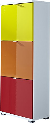 Kit meuble à chaussures 4 pièces Germania 8795-84 Colorado en blanc (jaune/orange/rouge), 53 x 132 x 30 cm (LxHxP)
