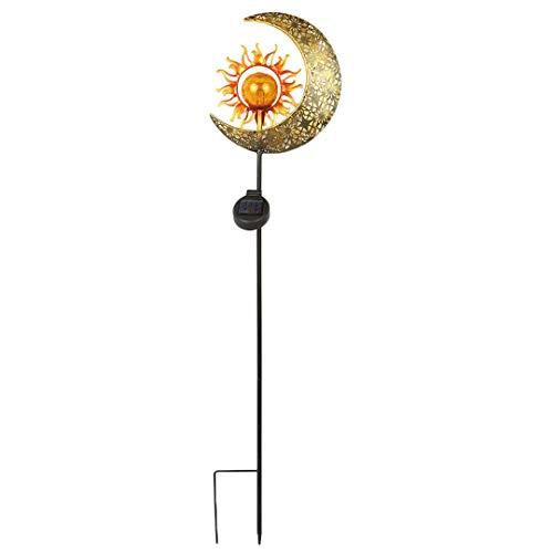 Lámpara Solar de Luna y Sol insertada en Tierra Lámpara de Linterna LED de jardín al Aire Libre con energía Solar