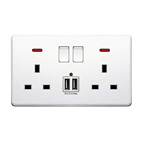 KDJSIC - Enchufe para interruptor de alimentación de pared universal de 2,1 A, doble puerto de carga USB, pantalla LED, enchufe estándar de 13 A para Reino Unido