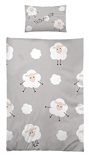 Kinderbettwäsche Babybettwäsche 100x135 cm 40x60 cm 100% Microfaser Kleinkinder Bettwäsche Set Schäfchen Grau Süße Träume
