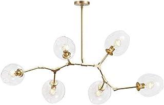 Luces de techo creativa acabado en bronce, de la mano de las burbujas lámpara moderna, 6 luces Bola de cristal colgante de luz de ramificación ajustable en altura, Lámparas E27 Sputnik transparentes 6
