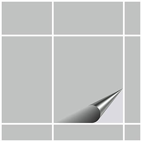 FoLIESEN Fliesenaufkleber 20x25 cm - Fliesen-Folie Bad - Klebefolie Küche - 15 Klebefliesen, Hellgrau glänzend