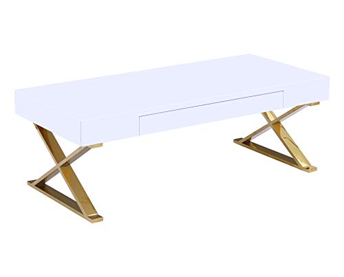 Best Master Furniture Baize Contemporary Modern Coffee Table, Gold Plated Frame