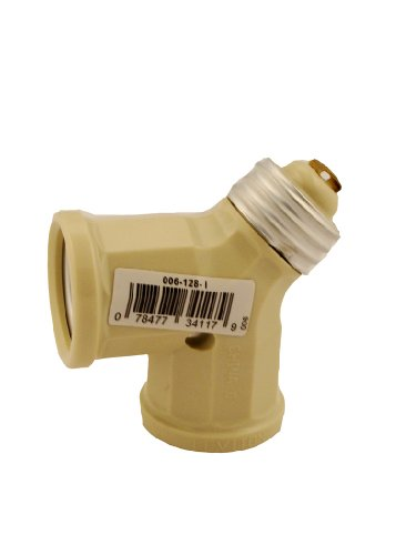 Leviton 128-I 15-Amp 660-Watt Twin Light-Socket Adapter, Ivory