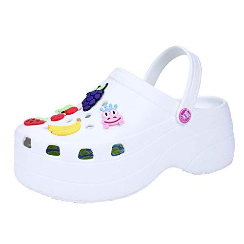 Zapatos de Plataforma para Jardinero Zuecos de jardín Zapatillas para Mujer Tacones Altos Mulas Zueco de jardín Moda Cómodo Transpirable Ligero Resbalón en Sandalias de cuña Zapatos de Diapositivas
