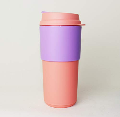 TUPPERWARE Kaffeebecher to go rosa 490ml, Permanent Kaffee Becher, Unterwegs + Hängelöffel Türkis