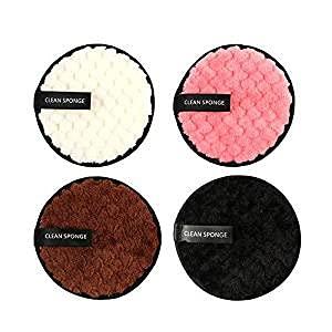 KJDSE - Juego de 4 almohadillas desmaquillantes de fibra y discos desmaquillantes lavables, lavables y reutilizables para líquidos en crema y polvo