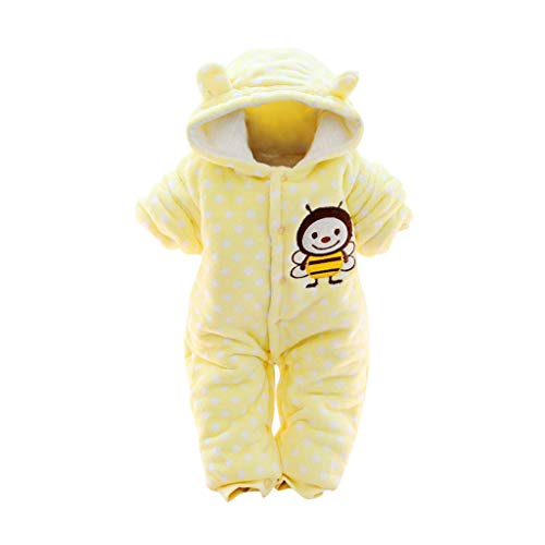(3M-12M) All-Inclusive Newborn Infant Baby Boys Girls Cartoon Monkey Printing Flannel Coral Fleece Plush Hooded Romper Jumpsuit (Yellow, 3-6 Months)