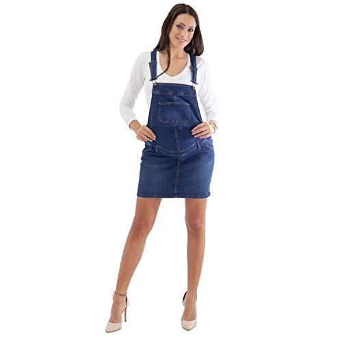 MAMAJEANS Salopette Gonna Premaman, Vestito Salopette di Jeans, Super Sconto per Leggeri Difetti, Difetti Grado A e Grado B - Made in Italy (40, Grado