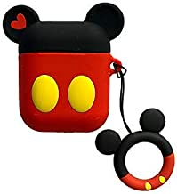 Cute Red Black Cartoon Mouse Airpods 1 2 Shockproof Protector Silicone Cover with Keychain Ring Holder Custom Skin for Apple Air pods Earphone Charging Case (Red-Black-Mickey)