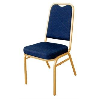 20 Restauration DL015 Boléro à carreaux Chaise de Banquet, tissu bleu, cadre doré (Lot de 4)