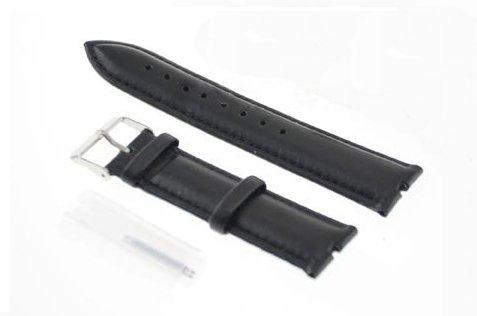 System-S Ersatz Armband Austausch Wrist Band Wechsel Leder Uhrenband 19,5 cm Schwarz für Motorola Moto 360 Smartwatch