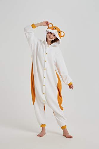 Onesie Erwachsene Unisex Pyjamas Tiger Lion Fox Tier Schlafanzug Cosplay Halloween Karneval Kostüm Loungewear Hamster S