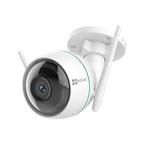 EZVIZ Telecamera di Sorveglianza Esterna 1080p, WiFi Videocamera, 2021 Aggiornata, Visione Notturna, Doppia Antenna WiFi, IP66 Antipolvere e Impermeabile, Compatibile con Alexa, Nuova Versione