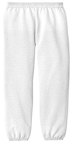 Joe's USA - Youth Soft and Cozy Sweatpants White. Size Youth XL(18-20)