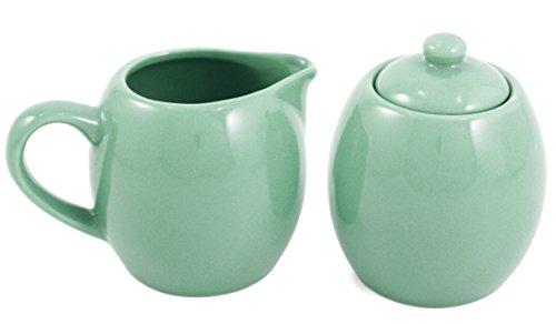 Seafoam Green Ceramic Creamer and Sugar Service Set with Lid