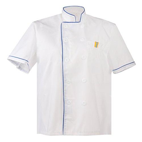 T TOOYFUL Kochjacke Kurzarm Bäckerjacke Jacke Kochkleidung Koch Gastronomie Berufsbekleidung Gastro Hemd Jacke Tops - Blau, M