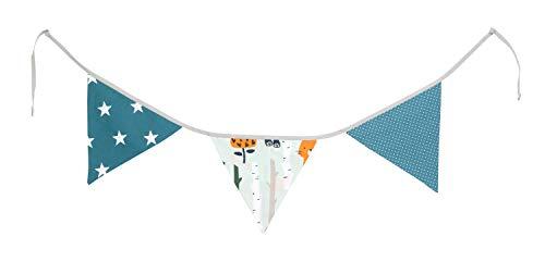 Guirnalda de banderines de ULLENBOOM  con bosque, verde, azul (guirnalda de tela: 1,25 m; 3 banderines; decoración para la habitación de los niños; fiestas de bienvenida para bebés)