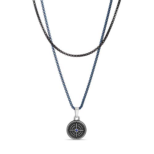 Nautica Stainless Steel Double Layered Black Compass Necklace for Men