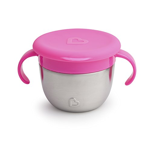 Munchkin Stainless Steel Snack Catcher with Lid, 9 Ounce, Pink