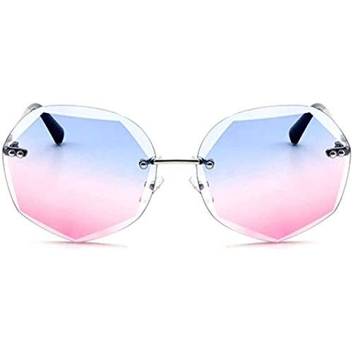 ZHANG Gafas de Sol con Corte de Cristal para Mujer, Polígono Multifuncional, Gradiente, Lente Azul, Protección UV400, Marco Plateado