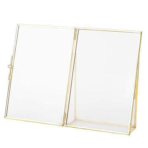 Atyhao Fotorahmen, Messing, Retro, Glas, Metall, für den Schreibtisch, Fotorahmen, Kupferstreifen, Metall-Bilderrahmen (15,2 x 20,3 cm)
