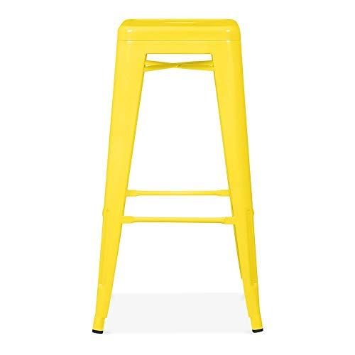 Snug Furniture - Industrial Galvanised Metal Dining Bar Stool - Yellow, Set of 4 stools
