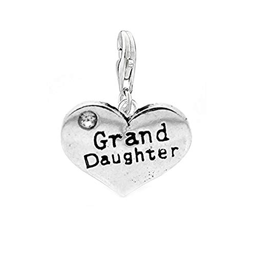Clip on' Grand Daughter' Two Sided Heart Charm Pendant for European Jewelry w/Lobster Clasp