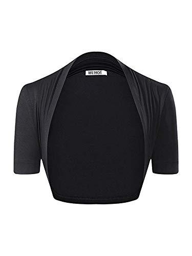 HUHOT Womens Versatile Open Front Lightweight Short Sleeve Bolero Shrug X-Large Black
