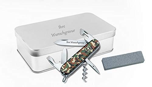 TR Victorinox Spartan (Camouflage) + Schleifstein in Geschenkbox, mit Ihrer persönlichen Gravur