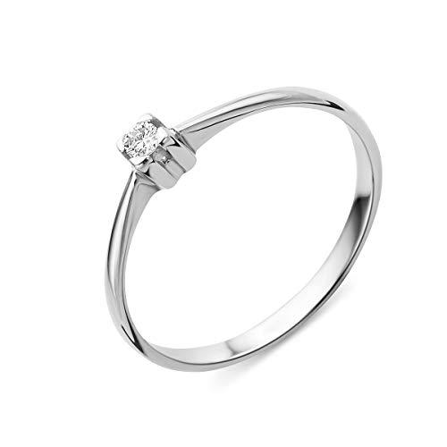 Miore Ring Damen Solitär Diamant Verlobungsring Weißgold 14 Karat / 585 Gold Diamant Brillant 0.06 Ct, Schmuck