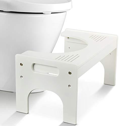 Todeco Sgabello da toilette Bambù,Sgabello da Bagno regolabile 17 - 24cm, Sgabello WC di Antiscivolo da Bambini Adulti, Bianco