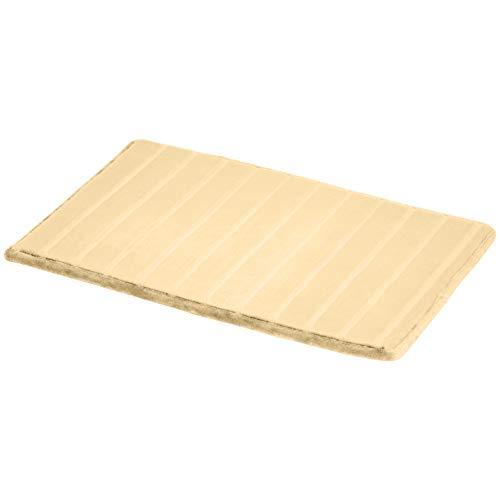 Amazon Basics - Alfombra para baño de espuma viscoelástica a rayas, Beige, 50 x 80 cm