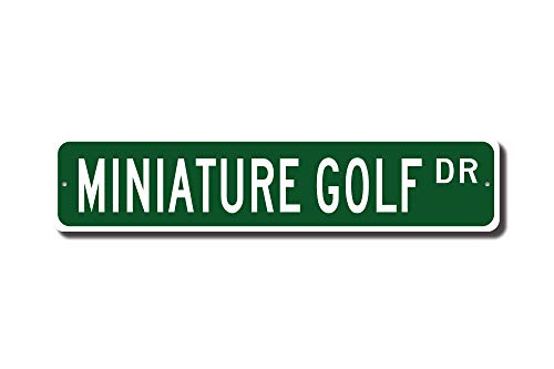 qidushop Miniatur-Golf-Golfschild, Miniatur-Golf-Fan, Miniatur-Golf-Geschenk, Miniatur-Golf-Spieler-Straßenschild, Neuheit Metall-Aluminium-Schild für Herren, Heimdekoration