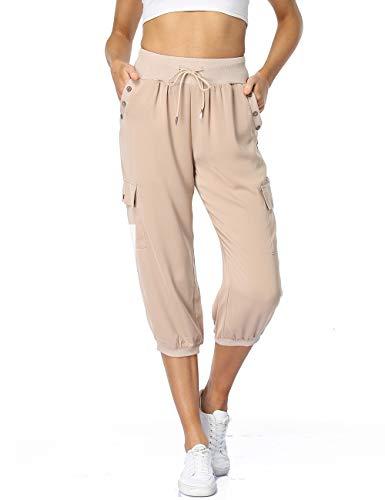 Dilgul Pantalones Mujer 3/4 Pantalones de Deporte Casual Recortados Elásticos Yoga Running Jogger Fitness Pantalones Chandal con Bolsillo Albaricoque X-Large