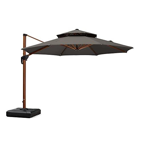 PURPLE LEAF 11 Feet Double Top Deluxe Sunbrella Wood Pattern Round Patio Umbrella Offset Hanging Umbrella Cantilever Umbrella Outdoor Market Umbrella Garden Umbrella, Spectrum Graphite