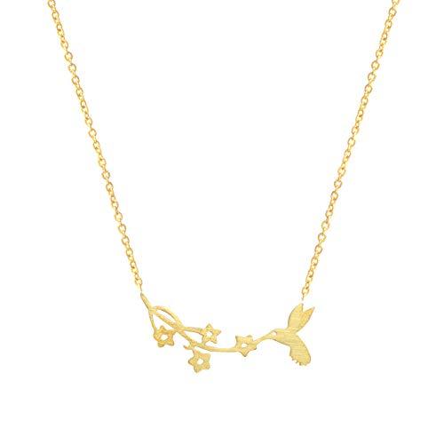 Halskette FyaWTM, Schmuck Choker Gold Gefüllte Kolibri Anhänger Halskette Frauen Bulgarien Schmuck Edelstahl Birdie Collier Femme Vogel Blumen Halskette
