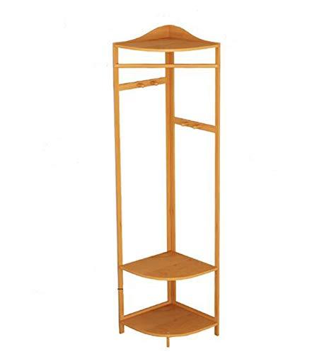 Solid Bamboe En Rotan Slaapkamer Verdieping Hoek Hangende Kapstok Rack