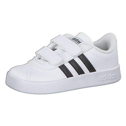 Adidas VL Court 2.0 CMF I, Zapatillas de Gimnasia, Blanco (FTWR White/Core Black/FTWR White FTWR White/Core Black/FTWR White), 24 EU
