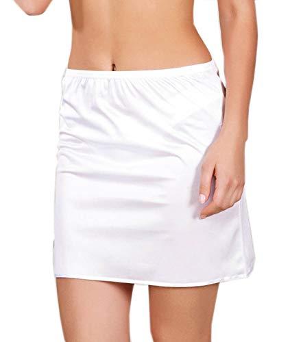 Unterrock Damen Kurz Jupon Unterrock Frauen Unterkleid Underskirt Mini Petticoat (36-M, Weiß)